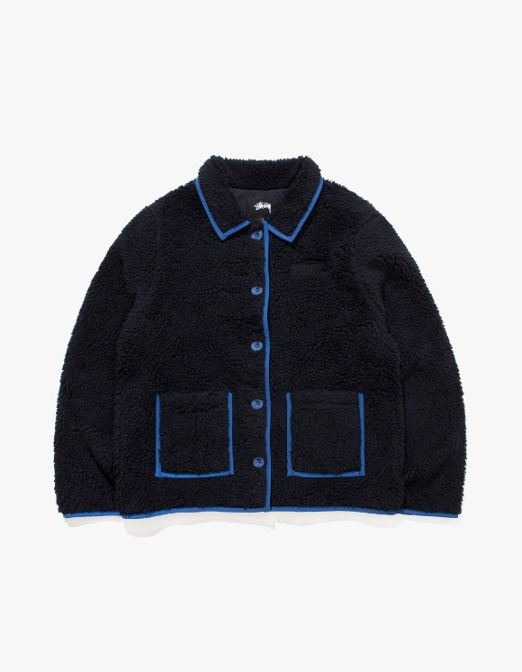 Stussy Sherpa Button Down Jacket - Black | HEIGHTS. | International Store