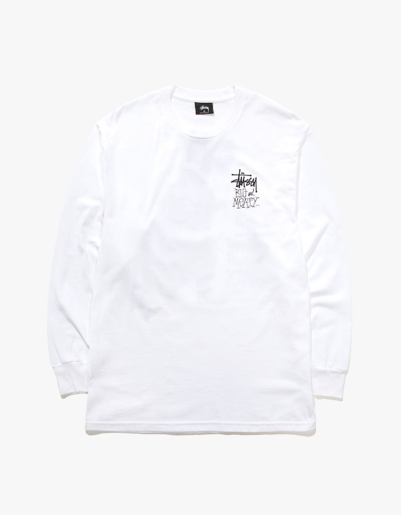 Stussy Big & Mealy L/S Tee - White | HEIGHTS. | International Store