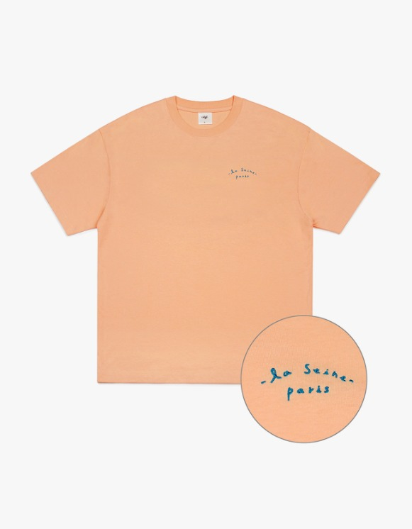 CLIF Seine Small Font S/S Tee - Coral | HEIGHTS. | International Store